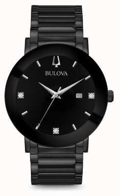 Bulova Męskie nowoczesne diamentowe zegarki czarne 98D144
