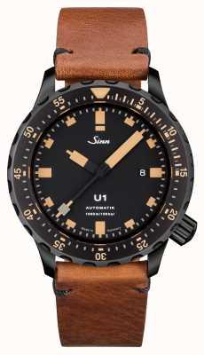 Sinn U1 se u-boat ze stali w stylu vintage, brązowy skórzany v-stitch 1010.023