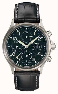Sinn 358 sa pilotowa, klasyczna chrono czarna skóra z aligatora 358.062