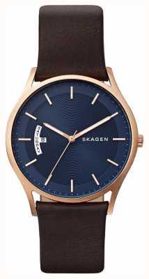 Skagen Męski, brązowy, skórzany niebieski zegarek szczegółowo wybierania SKW6395