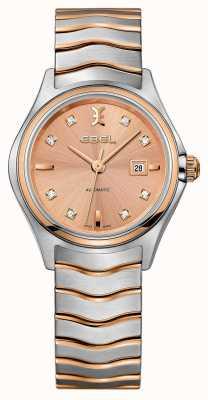EBEL Damski rombowy diamentowy dwukolorowy różowo-złoty zegarek 1216328