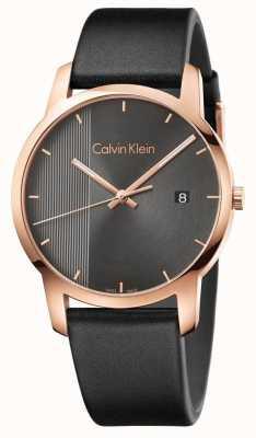 Calvin Klein   męski czarny skórzany zegarek miejski   K2G2G6C3