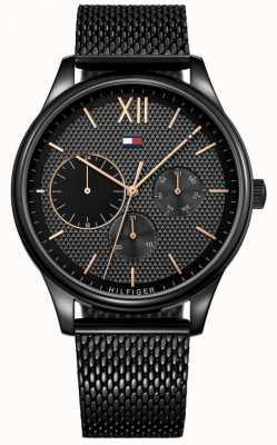 Tommy Hilfiger Męski damski zegarek z czarnej siatki IP 1791420