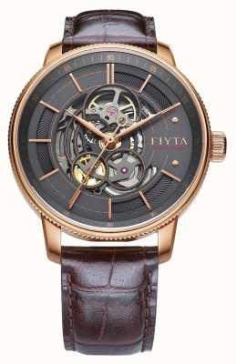 FIYTA Męski fotograf brązowy skórzany zegarek automatyczny GA860016.PHK