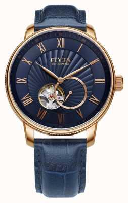 FIYTA Męski fotograf, niebieski skórzany zegarek automatyczny GA860015.PLL