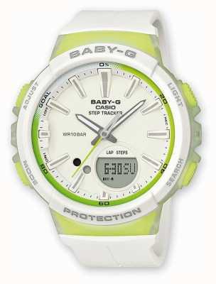 Casio Zegarek damski baby-g step tracker zielony / biały BGS-100-7A2ER