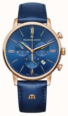 Maurice Lacroix Zegarek niebieski i złoty Eliros chronograf EL1098-PVP01-411-1