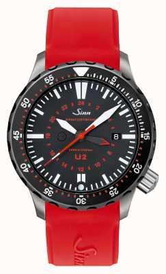 Sinn U2 sdr stalowy zegar misyjny U-Boot z czerwonym silikonem 1020.040