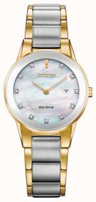 Citizen Damski aksjomat diamentowy z datą dwukolorową GA1054-50D
