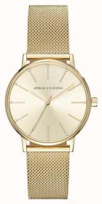 Armani Exchange Womans pozłacana bransoletka z siatki AX5536