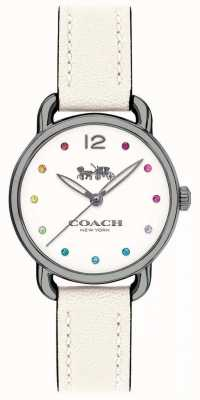 Coach Womans delancey oglądać biały skórzany pasek 14502915