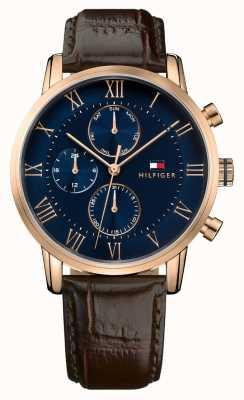 Tommy Hilfiger Kane chronograph niebieska tarcza z brązowym skórzanym paskiem 1791399
