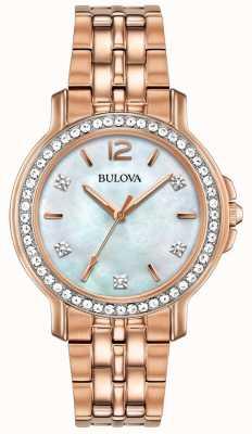 Bulova Kryształowy zegarek z różowego złota womans 98L243