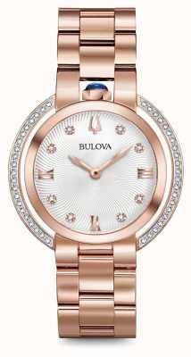 Bulova Womans rubiyat diamentowy zegarek z różowego złota 98R248