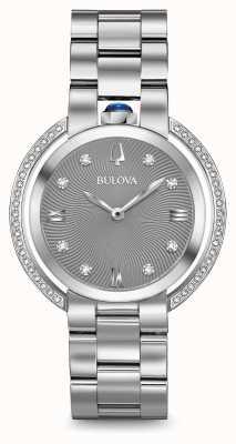 Bulova Womans rubiyat srebrny diamentowy zegarek 96R219