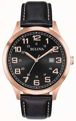 Bulova Męski zegarek w czarnej skórzanej oprawie z różową nutą 97B164