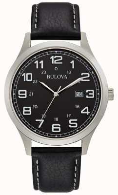 Bulova Męski zegarek w czarnej skórzanej etui 96B276