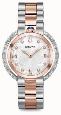 Bulova Womans rubiyat dwukolorowy zegarek diamentowy 98R247