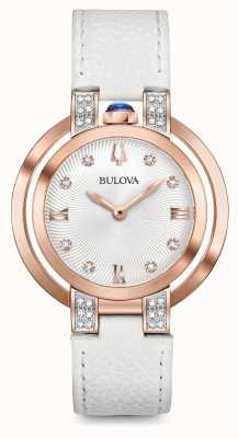 Bulova Womans rubiyat biały skórzany pasek z diamentem 98R243