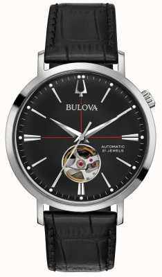 Bulova Męski automatyczny czarny skórzany zegarek 96A201