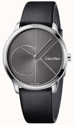 Calvin Klein Unisex zegarek z czarnego skórzanego paska K3M211C3