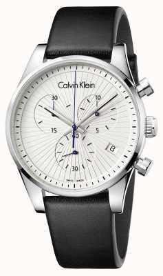 Calvin Klein Unisex odporna czarna skóra chronograf K8S271C6