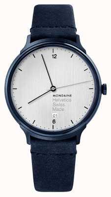 Mondaine Mens hevetica no. 1 jasnoniebieski welurowy pasek MH1.L2210.LD