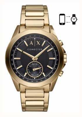 Armani Exchange Mężczyzna hybrydowy smartwatch bransoleta ze złotym odcieniem czarna tarcza AXT1008