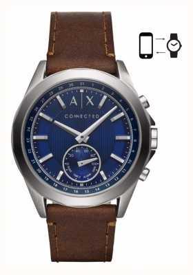 Armani Exchange Męski hybrydowy smartwatch z brązowym skórzanym paskiem niebieska tarcza AXT1010