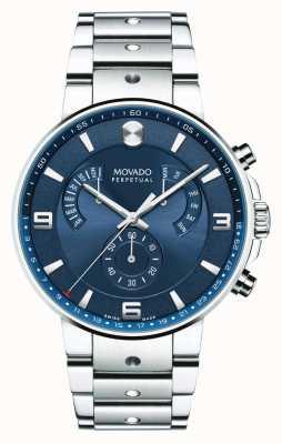 Movado Męskie se pilota wstecznego zegarka niebieska tarcza 0607129