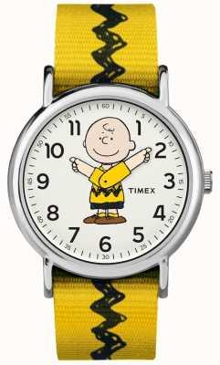Timex Weekender charlie brązowy orzeszki ziemne żółty pasek TW2R411006B