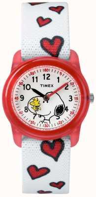 Timex Analogowe paski snoopy w kolorze białym TW2R41600JE