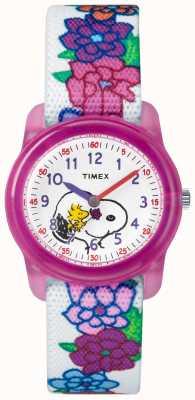 Timex Młodzieży analogowe białe paski snoopy kwiaty TW2R41700JE