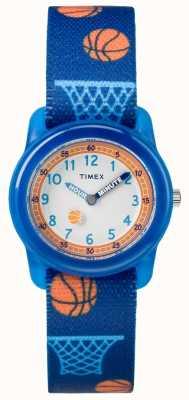 Timex Młodzieżowy, analogowy niebieski pasek do koszykówki TW7C168004E