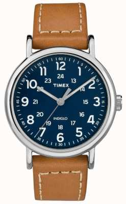 Timex Męski weekendowy skórzany pasek ze skórzaną aplikacją TW2R42500D7PF