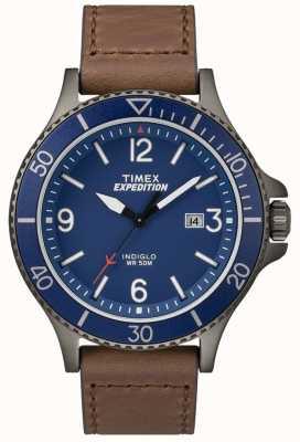 Timex Brązowy skórzany pasek ekspedycyjny z niebieską tarczą TW4B10700