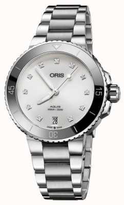 Oris Zestaw zegarków ze stali damskiej z diamentem 01 733 7731 4191-07 8 18 05P