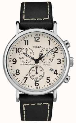 Timex Męski czarny skórzany pasek chronografu weekendu TW2R42800D7PF