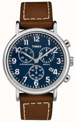 Timex Męski chronograf z brązowym skórzanym paskiem na weekend TW2R42600D7