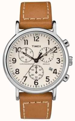 Timex Męski skórzany pasek z chronografem TW2R42700D7PF
