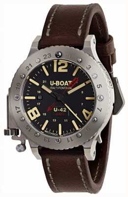 U-Boat Limitowana edycja brązowego skórzanego paska u-42 gmt 50mm 8095