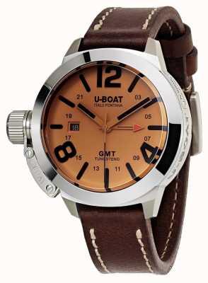 U-Boat Classico 45 gmt to skórzany automatyczny zegarek w brązowej skórze 8051