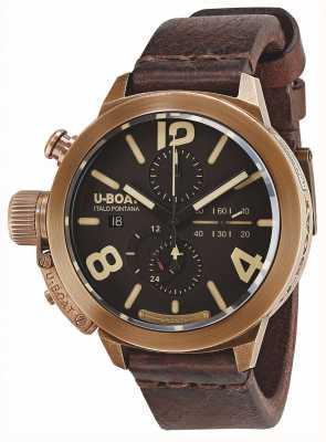 U-Boat Klasyk 50 brązowy, brązowy automatyczny brązowy skórzany pasek 8064