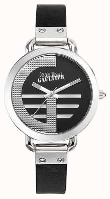 Jean Paul Gaultier Womens index g czarny skórzany pasek czarna tarcza JP8504315