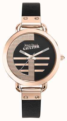 Jean Paul Gaultier Womens index g brązowy skórzany pasek czarna tarcza JP8504325