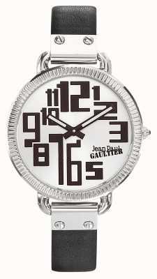 Jean Paul Gaultier Womens index czarny skórzany pasek srebrna tarcza JP8504305