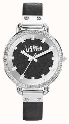 Jean Paul Gaultier Damski indeks czarny skórzany pasek czarna tarcza JP8504312
