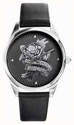 Jean Paul Gaultier Granatowy tatoo czarny skórzany pasek czarna tarcza JP8502412