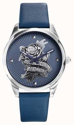Jean Paul Gaultier Granatowy skórzany pasek ze skóry tatoo niebieska tarcza JP8502413