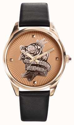 Jean Paul Gaultier Granatowy tatuaż z czarnego skórzanego paska z różowego złota JP8502411